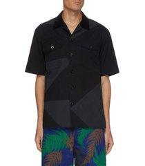 geometric graphic print patch pocket shirt