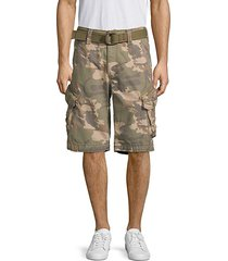 camouflage belted cotton cargo shorts