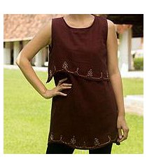 cotton blouse, 'layers in brown' (thailand)
