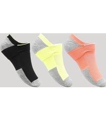 kit de 3 meias femininas soquete esportivas ace neon multicor