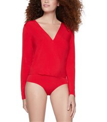 bcbgeneration open-back surplice bodysuit
