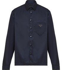 prada recycled nylon logo enamel shirt - blue