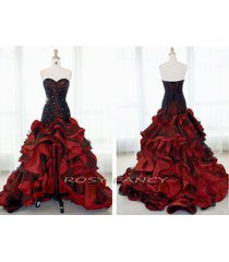 rosy fancy black and red beaded bodice high-low tiered ruffles prom dress pd002