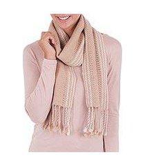 100% alpaca scarf, 'timeless in beige' (peru)