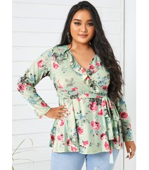 yoins plus talla escote en v estampado floral cinturón diseño abrigo con ribete de volantes diseño blusa de manga larga