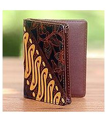 cotton and faux leather passport case, 'blooming parang' (indonesia)