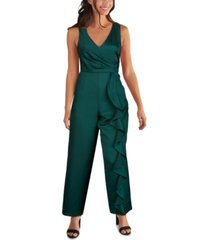 kensie v-neck sash-detail jumpsuit