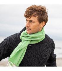 men's herringbone lambswool green scarf one size