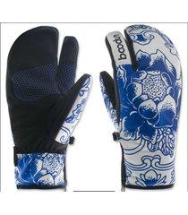ski gloves 1pair thermal women snowboard waterproof three finger snow winter new