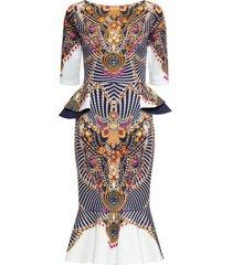 abito con peplum e strass (bianco) - bodyflirt boutique