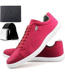 sapatenis touro boots 900 sw  bordo + cinto + carteira vermelho - vermelho - masculino - sintã©tico - dafiti