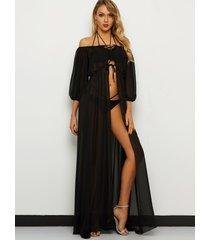 vestido maxi de playa con diseño de cordones y mangas largas con hombros descubiertos negro