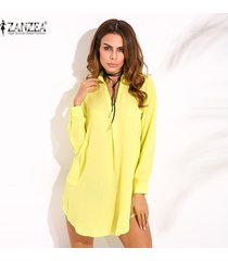 zanzea mujeres de la manera vestido camisa floja ocasional de opacidad largo de la gasa de la manga de la solapa del tamaño extra grande (amarillo) -amarillo