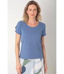 blusa algodão transpasse manga az oceano feminina - feminino