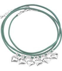 bracciale in metallo rodiato e cordino per donna
