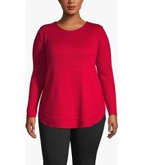 lane bryant women's cable trim tunic sweater 18/20 crimson