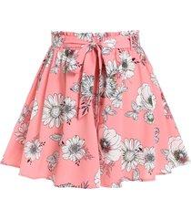 plus size boho floral print wide leg shorts