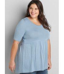 lane bryant women's perfect sleeve high-low babydoll swing tunic 10/12 ashley blue