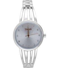 paris 3h orologio in acciaio silver con quadrante silver con strass e bracciale semirigido per donna