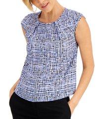 kasper petite pleated-neck abstract-print blouse
