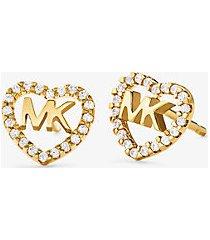 mk orecchini a bottone in argento sterling con placcatura in metallo prezioso pavé e logo a forma di cuore - oro (oro) - michael kors