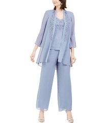 r & m richards 3-pc. beaded jacket, top & wide-leg pants set