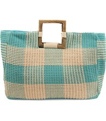 bamboo top handle checkered jacquard satchel