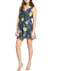 women's vero moda lucca floral print sleeveless dress, size large - blue