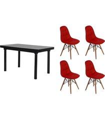 conjunto mesa de jantar impã©rio brazil - incolor/vermelho - dafiti