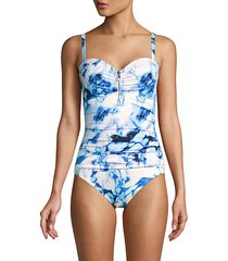 quartz-print zip-front one-piece swimsuit