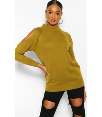 cold shoulder high neck sweater, olive