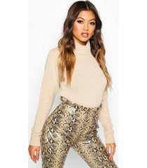 roll neck crop sweater, stone