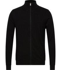 slhberg full zip cardigan b stickad tröja cardigan svart selected homme