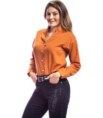 camisa terracota para mujer corte clásico cuello v