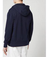 maison kitsuné men's tricolor fox patch zip hoodie - navy - xl