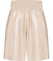 bottega veneta leather shorts - neutrals