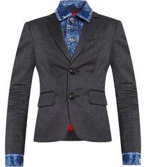 blazer in contrasting fabrics