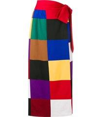 sara battaglia square print straight skirt - red