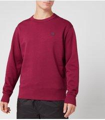 acne studios men's fairview face sweatshirt - dark pink - xl