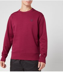 acne studios men's fairview face sweatshirt - dark pink - xl