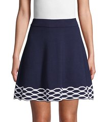 banded cotton-blend mini skirt