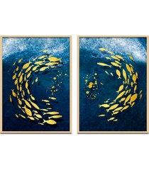 quadro 67x100cm urak oh1 peixe dourado decorativo moldura natural