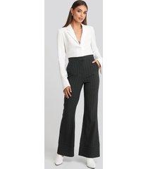 hoss x na-kd striped trousers - grey