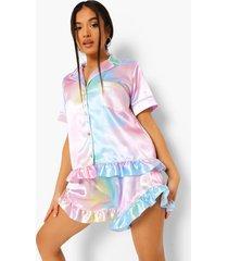 petite pastel pyjama set met shorts en franjes, multi