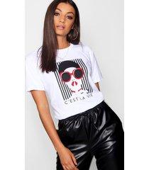tall french slogan face print t-shirt, white