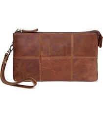 vintage casual vera pelle telefono borsa clutch borsa portafoglio per donna uomo