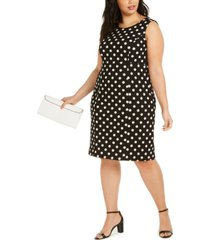 kasper plus size polka-dot sheath dress