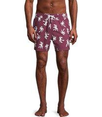 onia men's charles 5 palm tree swim trunks - wine - size m