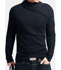 mens moda unico pulsanti a maniche lunghe design maglione casual slim fit