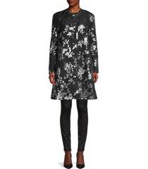 erdem women's kerianne metallic floral a-line dress - black silver - size 6 uk (2 us)